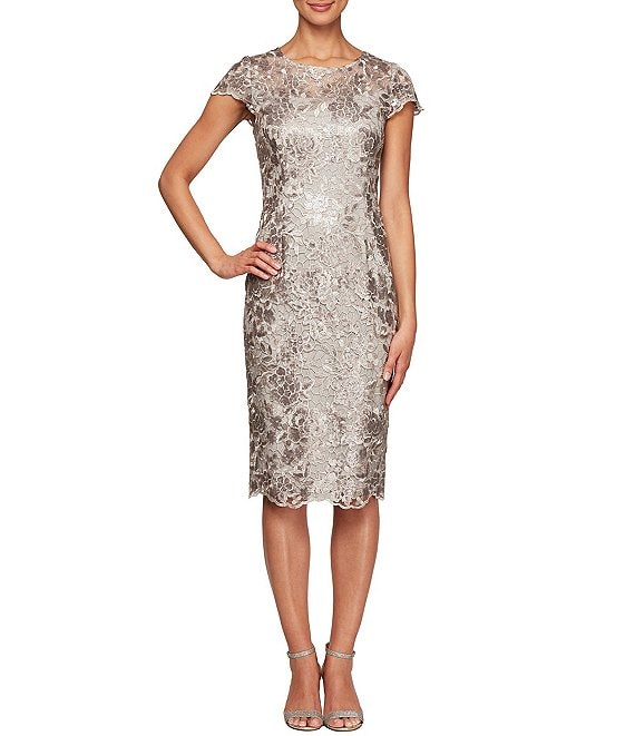 Alex Evenings Petite Size Cap Sleeve Embroidered Lace Midi Sheath Dress