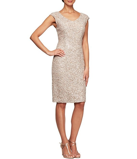 Color:Champagne/Ivory - Image 1 - Petite Size Corded Lace Cap Sleeve V-Neck Sheath Dress