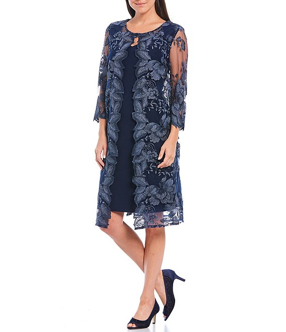 Color:Navy - Image 1 - Petite Size Floral Embroidered 3/4 Sleeve One Piece Jacket Dress