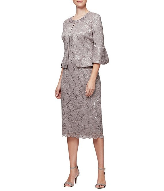 Alex Evenings Petite Size Lace Bell Sleeve Jacket Dress
