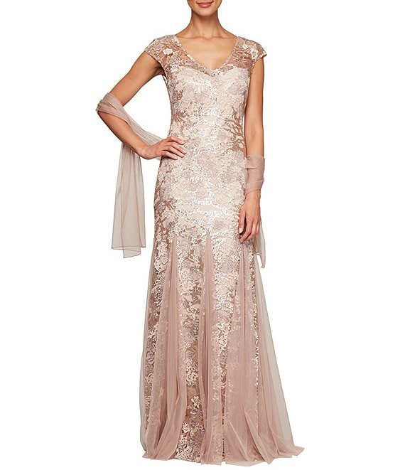 Color:Rose Gold - Image 1 - Petite Size Sequin Embroidered V-Neck Cap Sleeve Lace Godet Skirt Shawl Gown