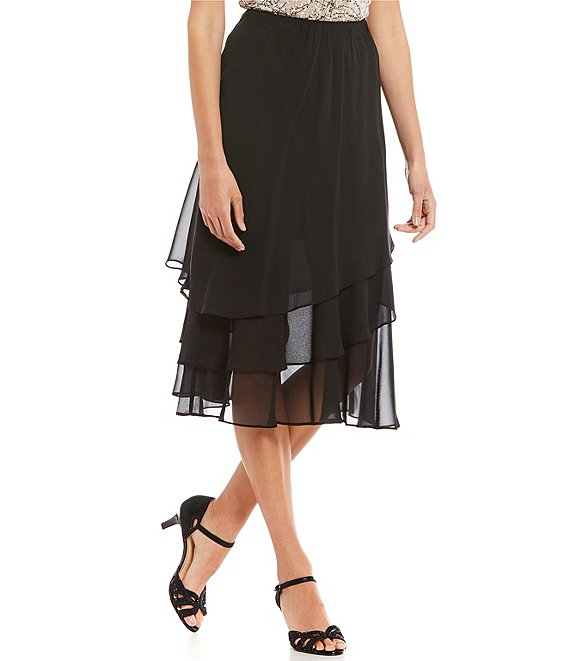 Alex Evenings Petite Tea Length Tiered Chiffon Skirt