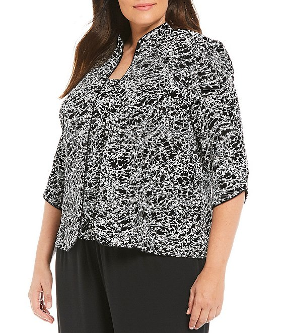 Color:Black/White - Image 1 - Plus 3/4-Sleeve Printed Twinset