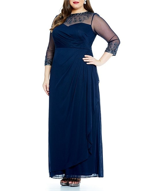 Color:Dark Navy - Image 1 - Plus Size Beaded Illusion Sweetheart Neckline Sheath Dress