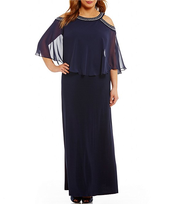 Alex Evenings Plus Size Cold Shoulder Popover Gown