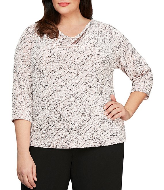 Color:Shell Pink - Image 1 - Plus Size Cowl Neck 3/4 Sleeve Printed Blouse
