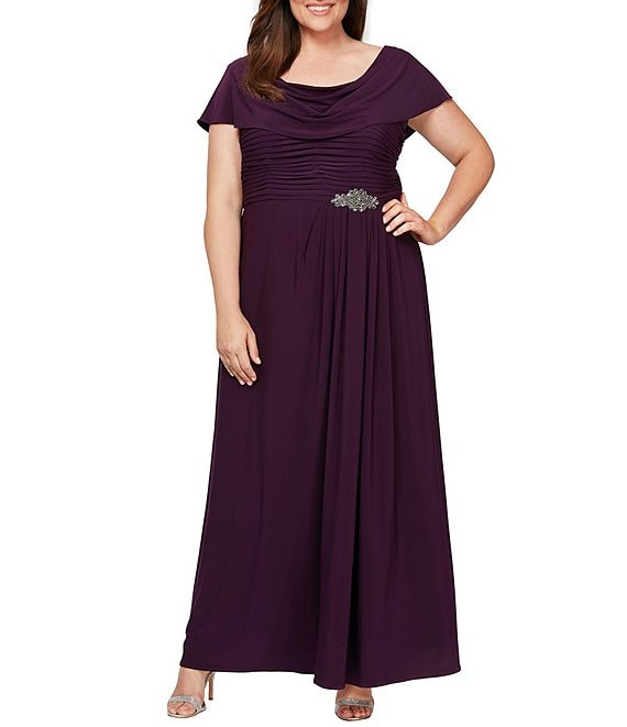 Alex Evenings Plus Size Matte Jersey Cowl Neck Pleated Embellished Side  Detail Long Gown