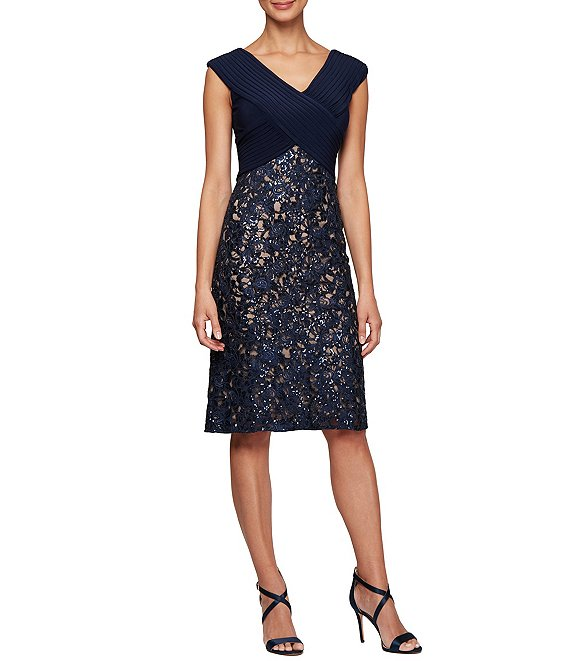 Alex Evenings V-Neck Sleeveless Embroidered Lace Sheath Midi Dress