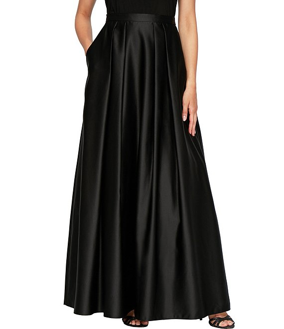 Color:Black - Image 1 - Satin With Pocket Inverted Pleat Ball Gown Skirt