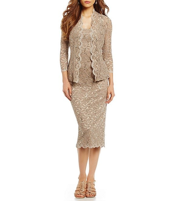4610d20fdade Alex Evenings Scalloped Lace Midi Jacket Dress | Dillard's