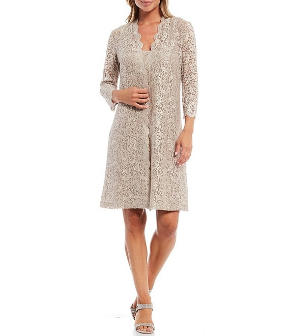 Color:Taupe - Image 1 - Scalloped Lace Jacket Dress