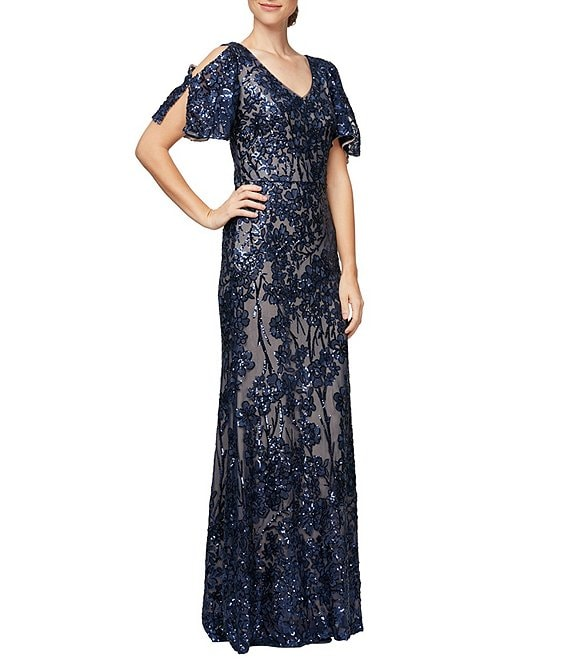 Color:Navy/Nude - Image 1 - Sequin A-Line Flutter Cold Shoulder Sleeve Long Gown