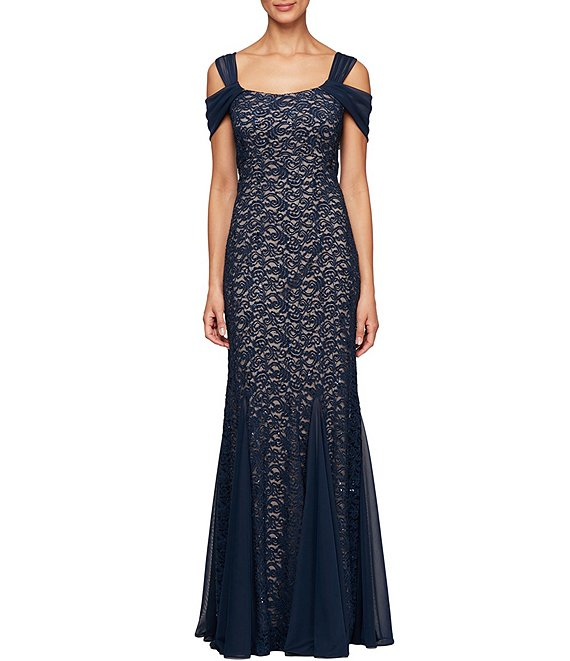 Color:Navy/Nude - Image 1 - Sequin Lace Cold Shoulder Godet Gown