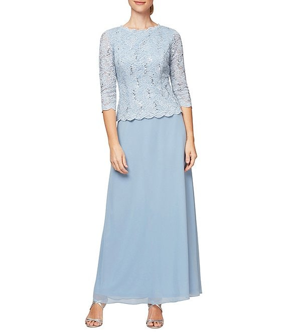 b2e416c5bab Alex Evenings Sequined Lace   Chiffon Gown