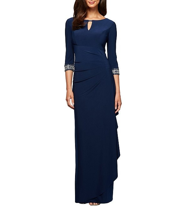 Color:Cobalt - Image 1 - Side Ruched Embellished Cuff Gown