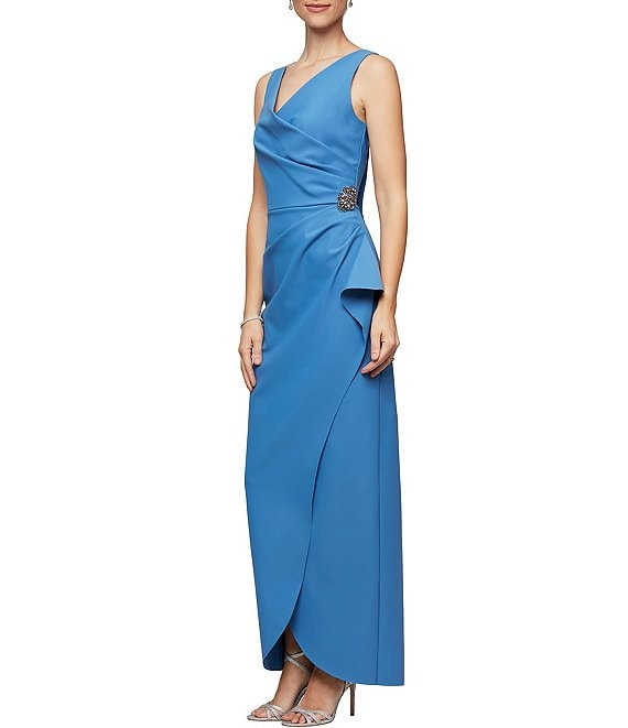 Color:Sky Blue - Image 1 - Sleeveless Surplice Neckline Beaded Detail Sheath Dress