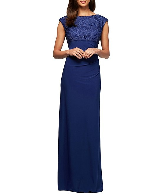 Color:Royal - Image 1 - Soutache Boat-Neck Cowl-Back Cap Sleeve Ruched Gown