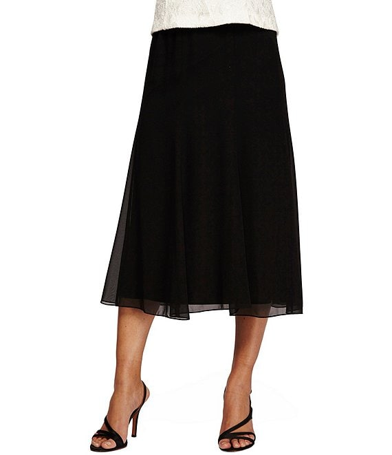 4388193690 Alex Evenings A-Line Midi Skirt | Dillard's