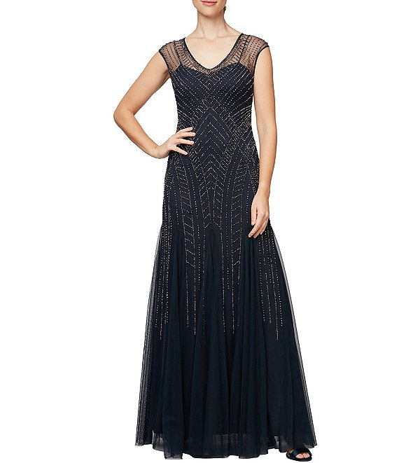 Color:Navy/Silver - Image 1 - V-Neck Cap Sleeve Embellished Tulle Long A-Line Dress