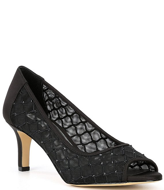 Color:Black - Image 1 - Bessika Rhinestone Detail Peep-Toe Mesh Pumps