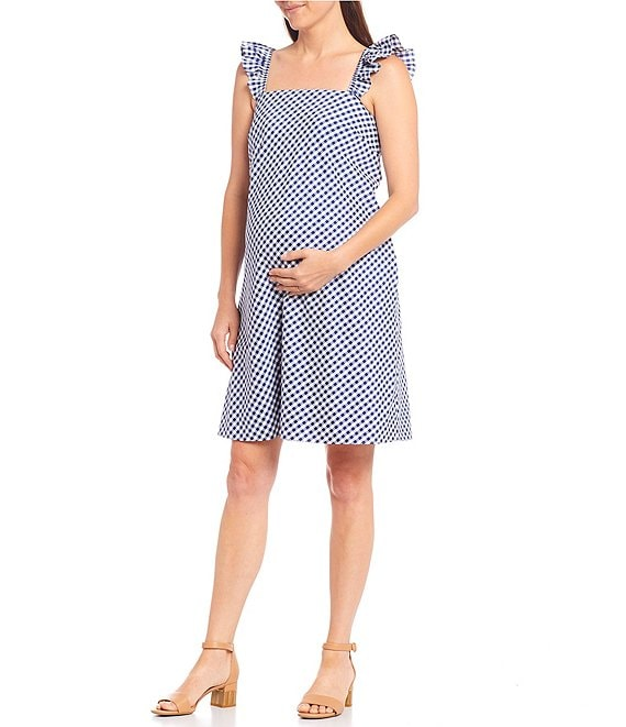 Color:White/Navy - Image 1 - Blair Maternity Square Neck Sleeveless Gingham Dress