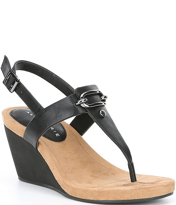 69e2e1b5373 Alex Marie Burdette Leather Thong Wedge Sandals