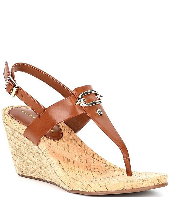 Color:Capri Tan - Image 1 - Burdette Thong Wedge Sandals