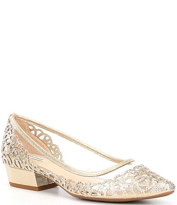 Color:Soft Gold/Clear - Image 1 - Calaisa Rhinestone Clear Block Heel Pumps