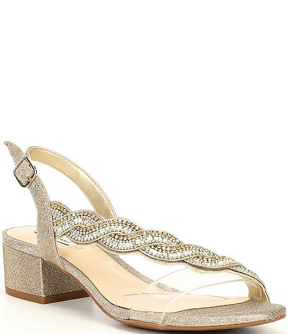 Color:Clear/Soft Gold - Image 1 - Clavia Asymmetrical Clear Jeweled Sling Back Sandals
