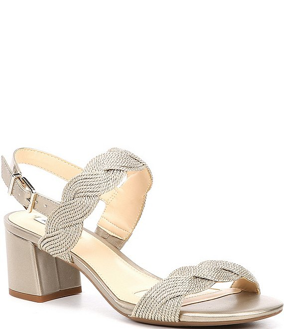 Color:Soft Gold - Image 1 - Devah Braided Rope Block Heel Sandals
