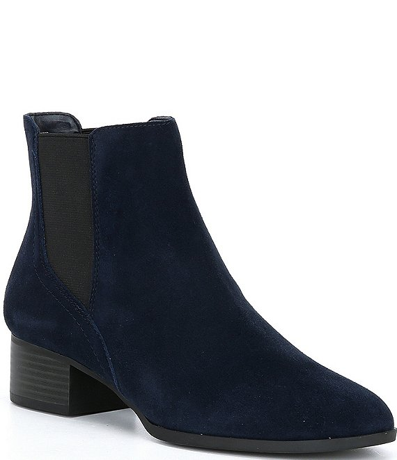 Color:Seaport Navy/Black - Image 1 - Gloriane Suede Chelsea Block Heel Booties
