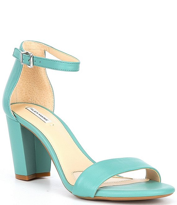 Color:Seafoam Green - Image 1 - Halmar Ankle Strap Leather Block Heel Sandals