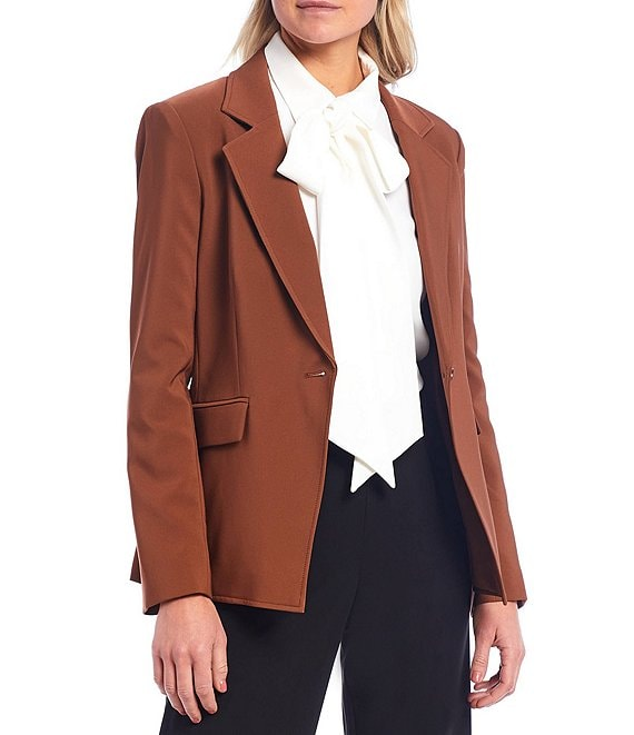 Color:Chocolate - Image 1 - Karli Notch Lapel One Button Jacket