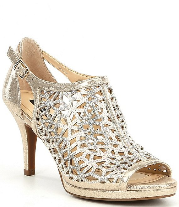 83ae69e26 Alex Marie Lanie Metallic Rhinestone Detail Cutout Pattern Dress Pumps