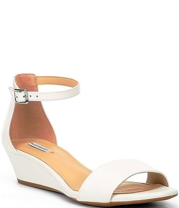 Color:White - Image 1 - Mairitwo Leather Ankle Strap Wedge Sandals