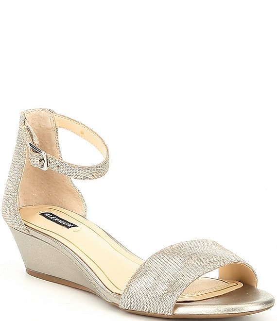 Color:New Light Grey/Ceylon - Image 1 - Mairitwo Metallic Leather Ankle Strap Wedge Sandals