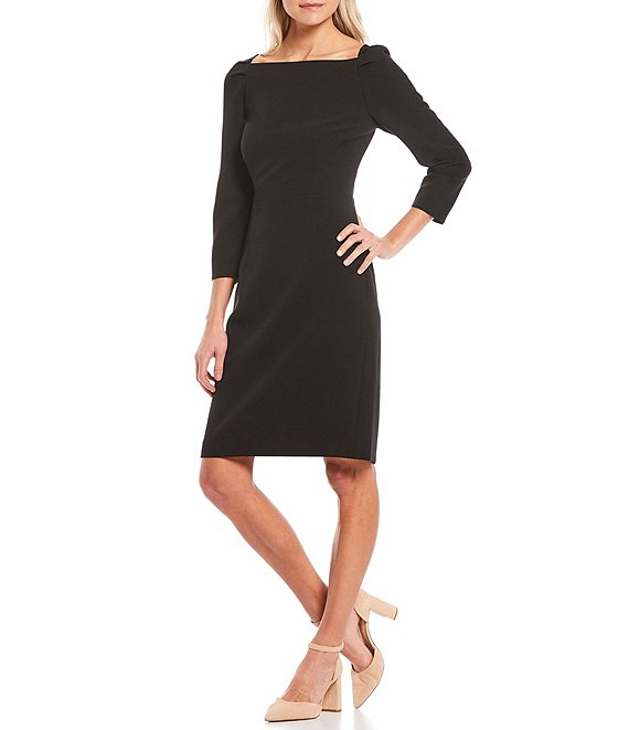 Color:Black - Image 1 - Maive Square Neck 3/4 Sleeve Dress