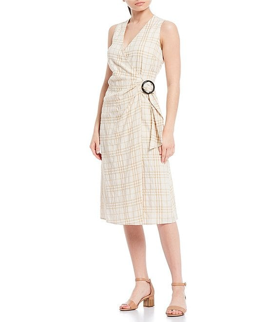 Color:Khaki/Ivory - Image 1 - Maria Plaid Printed O-Ring Belted Faux-Wrap Dress
