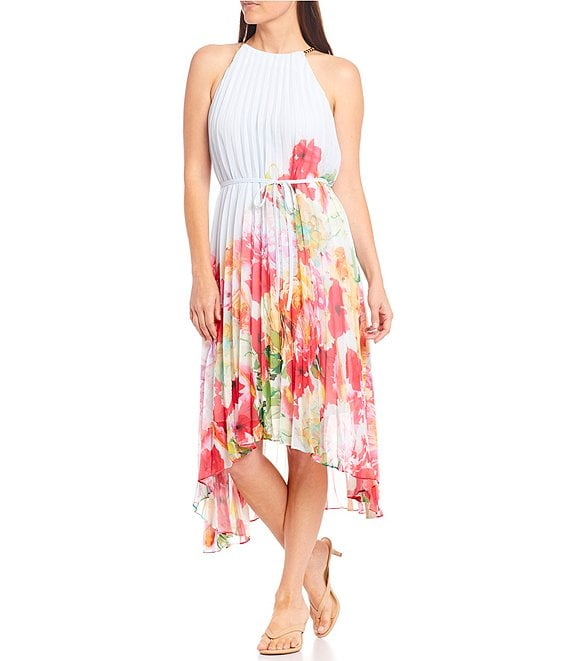 Color:Powder Blue/Apple/Yellow - Image 1 - Marissa Pleated Placement Floral Printed Halter Chain Neck Midi Dress
