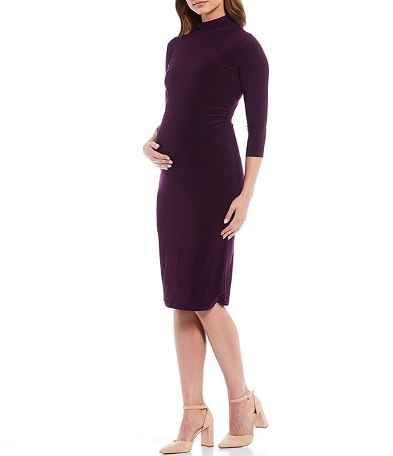 Color:Plum - Image 1 - Maternity Ellie 3/4 Sleeve Mock Neck Sheath Dress