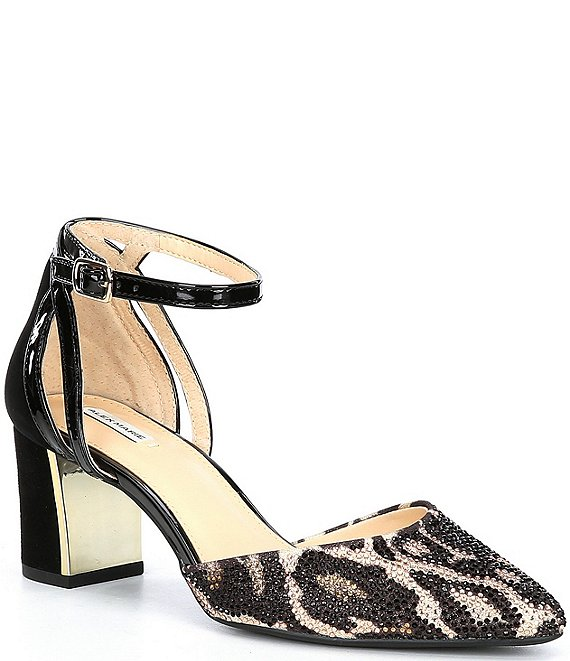 Color:Tan Combo - Image 1 - NelvinTwo Animal Print Rhinestone Ankle Strap Pumps