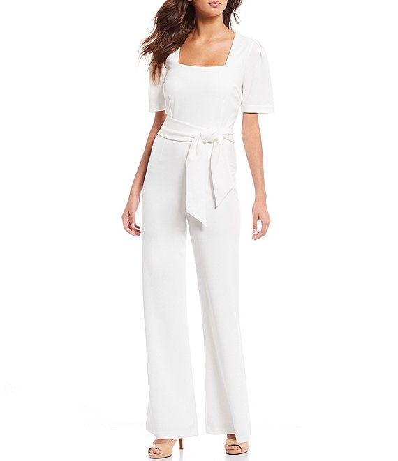 Alex Marie Nor Puff-Sleeve Square Neck Jumpsuit