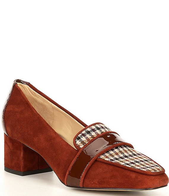 Color:Sattle/Brown - Image 1 - Phaidia Suede Houndstooth Tweed Block Heel Loafer Pumps