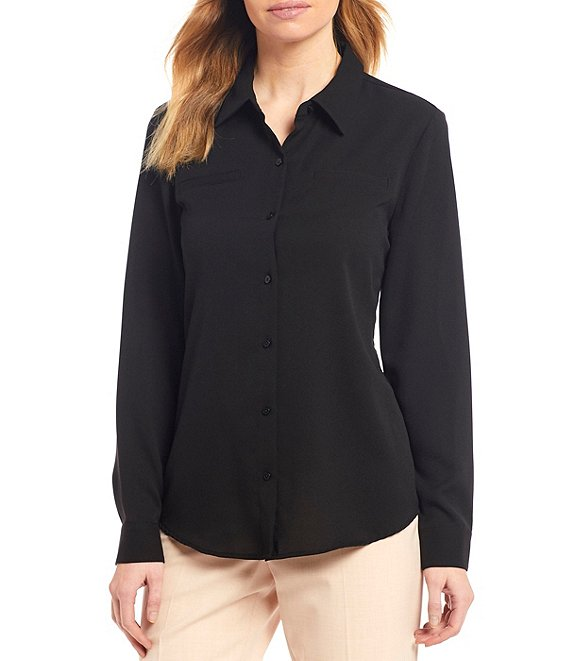 Color:Black - Image 1 - Piper Machine Washable Lightweight Soft Crepe de Chine Button Front Top