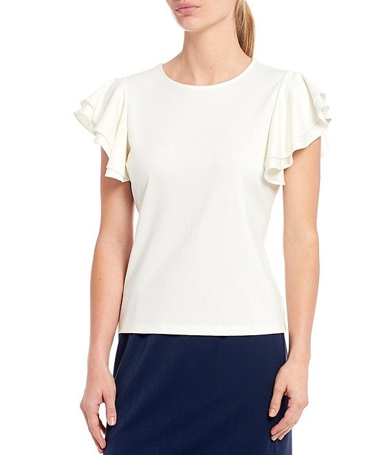 Color:Ivory - Image 1 - Sasha Knit Ruffle Sleeve Machine Washable Blouse