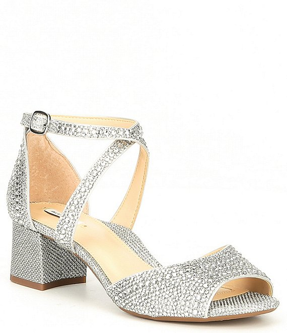 Color:Silver - Image 1 - Seyland Rhinestone Cross Strap Block Heel Sandals
