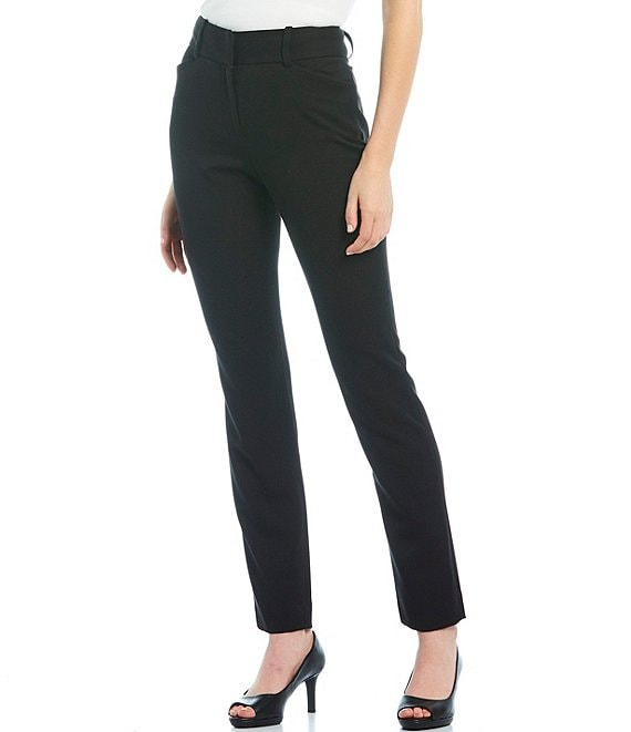 Color:Black - Image 1 - Tina Twill Crepe Machine Washable Suiting Pant