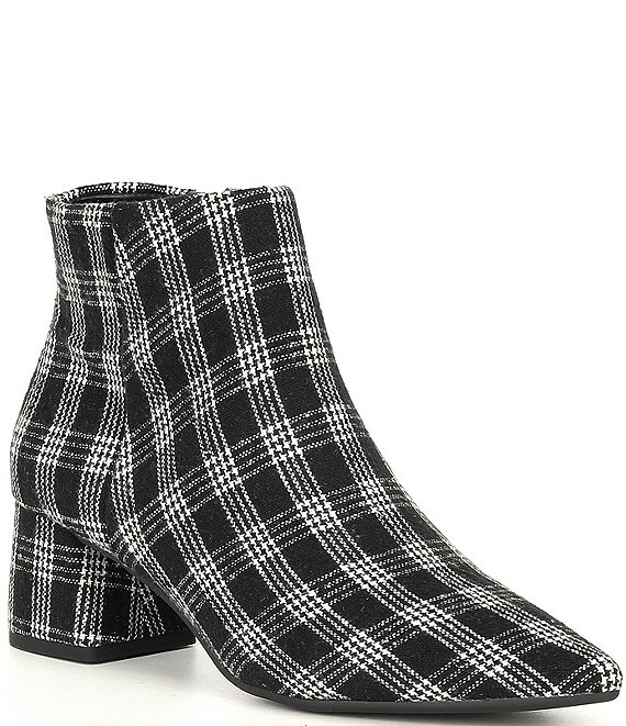 Color:Black/White - Image 1 - Tionna Plaid Block Heel Booties