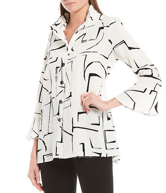 Color:White - Image 1 - 3/4 Sleeve Wire Neck Abstract Geo Print Crinkle Tunic