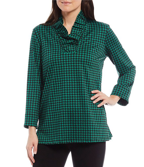 Color:Emerald - Image 1 - Houndstooth Ruffled V-Neck 3/4 Sleeve Top